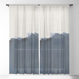 Abstract, blue, beige, indigo Sheer Curtain