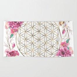 Flower of Life Rose Garden Gold Beach Towel