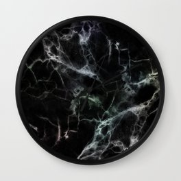 Luxurious Black Marble With Smoky Veins Wall Clock