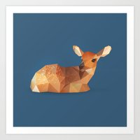 fawn Art Prints featuring Fawn. by Diana D'Achille