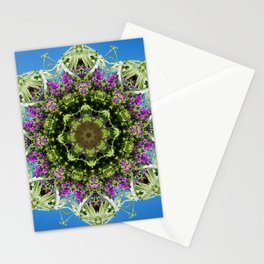 Intricate floral kaleidoscope - Vebena, Dichondra leaves with blue sky Stationery Cards