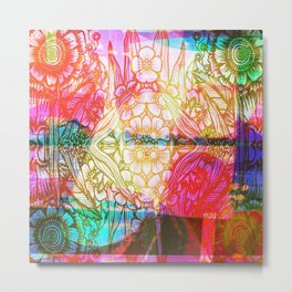 Flower Dreamscape - Painting, Illustration, pink, purple, yellow, blue Metal Print