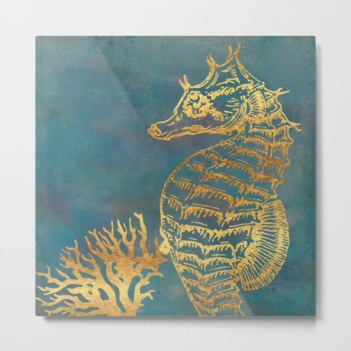 Deep Sea Life Seahorse Metal Print