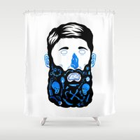 beard Shower Curtains featuring Pirate Beard by David Penela