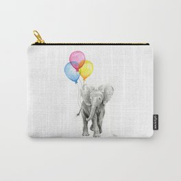 Baby Elephant with Balloons Nursery Animals Prints Whimsical Animal Carry-All Pouch