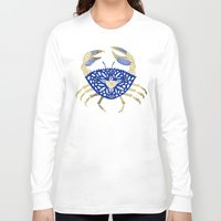 crab Long Sleeve T-shirts featuring Crab – Navy & Gold by Cat Coquillette