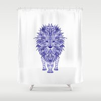 lion Shower Curtains featuring LIon by Monika Strigel