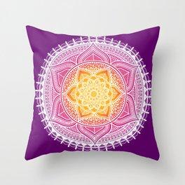 India Flower Mandala Throw Pillow