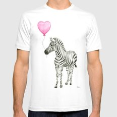 Zebra with Balloon Animal Watercolor Whimsical Animals MEDIUM Mens Fitted Tee White