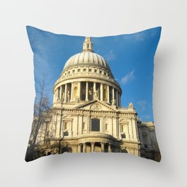 St Pauls Cathedral Blue Sky Sunny Day  Throw Pillow
