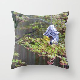 Birdhouses Nestled in a Blooming Japanese Maple Throw Pillow