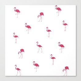 Pink Flamingo Silhouette Pattern Canvas Print