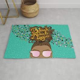 Black Girl Magic Teal Rug