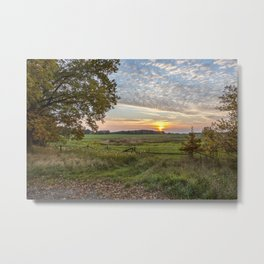 Sunset In Rural Idyllic Autumn Landscape In Germany Metal Print