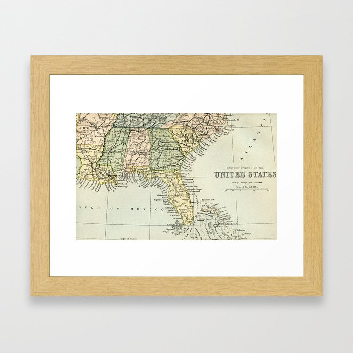 Vintage Map Of The South Of The United States Of America Framed Art