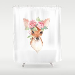 Watercolor Floral Fawn Shower Curtain
