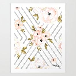 Peach Rose Mod Art Print