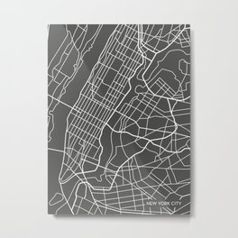 New York City / Manhattan Abstract Map Art Print Metal Print