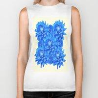 blankets Biker Tanks featuring Decorative  Opulent Baby Blue Dahlia Flowers Art Work Design by SharlesArt