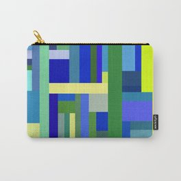 Abstract Blue Lime Pattern Carry-All Pouch