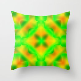 Bright pattern of blurry yellow and green flowers in a vintage kaleidoscope. Throw Pillow
