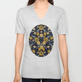 Navy Blue, Turquoise, Cream & Mustard Yellow Dark Floral Pattern Unisex V-Neck