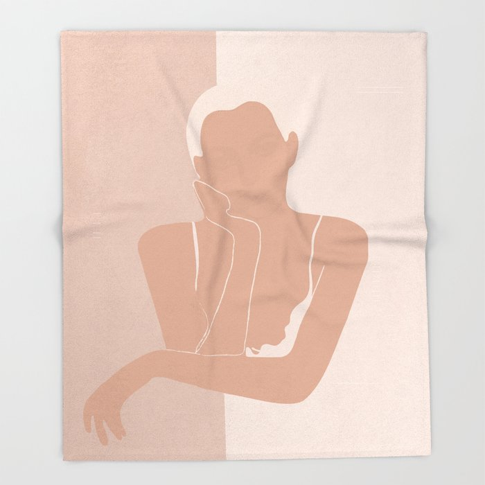 Minimal illustration of a Woman Throw Blanket