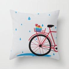 Bicycle & rain Throw Pillow