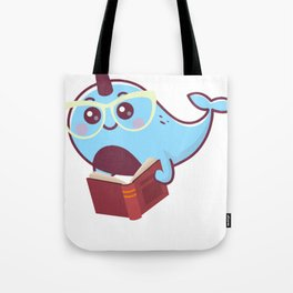 Funny Narwhal with book Shirt - for kids Tote Bag
