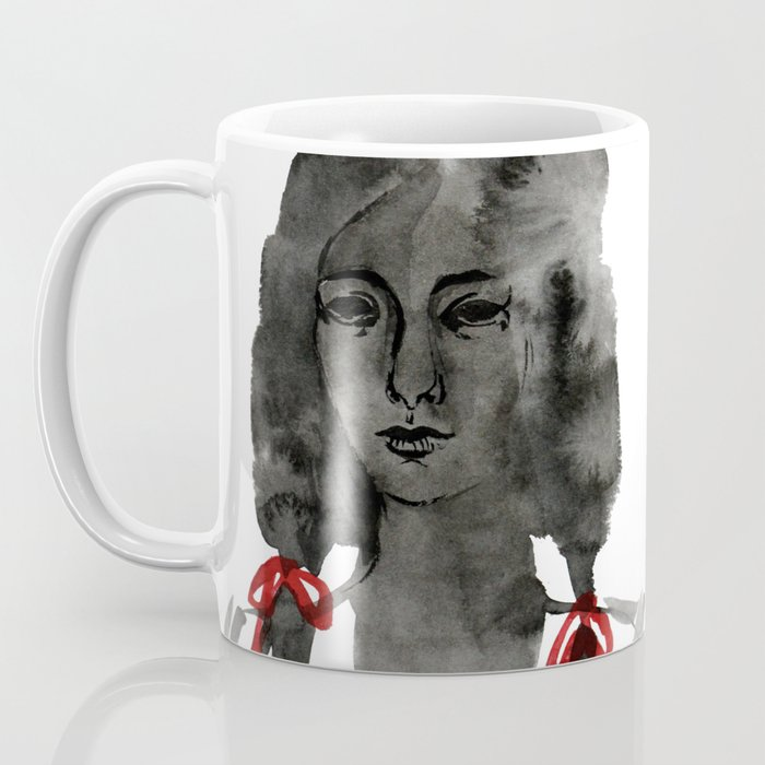 Ink Portrait - back white and red inky watercolour illustration painting Coffee Mug