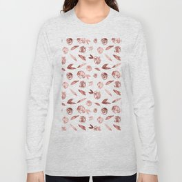 Rose Gold Roses Rosette Pattern Pink on White Long Sleeve T-shirt