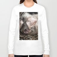 pigs Long Sleeve T-shirts featuring Pigs Head by Goncalo