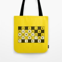 atheist Tote Bags featuring Religion numbs critical thinking  by Yuri Tamburrini