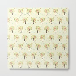 Pattern of trees and birds Metal Print