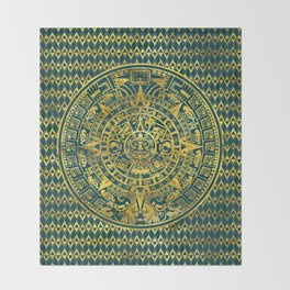 Gold  Aztec Inca Mayan Calendar Throw Blanket