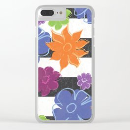 Vintage Style Summer Flowers on Black and White Stripe Clear iPhone Case