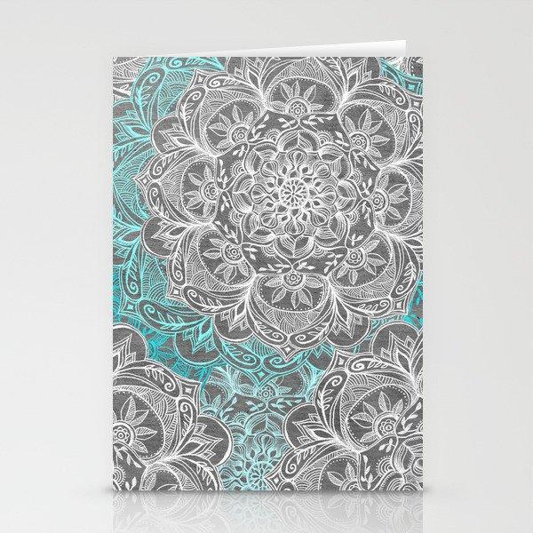 Turquoise & White Mandalas on Grey Stationery Cards
