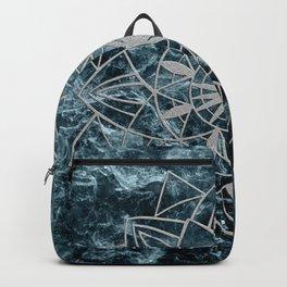 Star Mandala on Enigmatic Deep Blue Ocean Marble #1 #decor #art #society6 Backpack