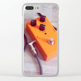 orange pedal effect and black cables on wooden floor. toning Clear iPhone Case
