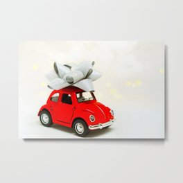 Red Car Christmas Present (Color) Metal Print