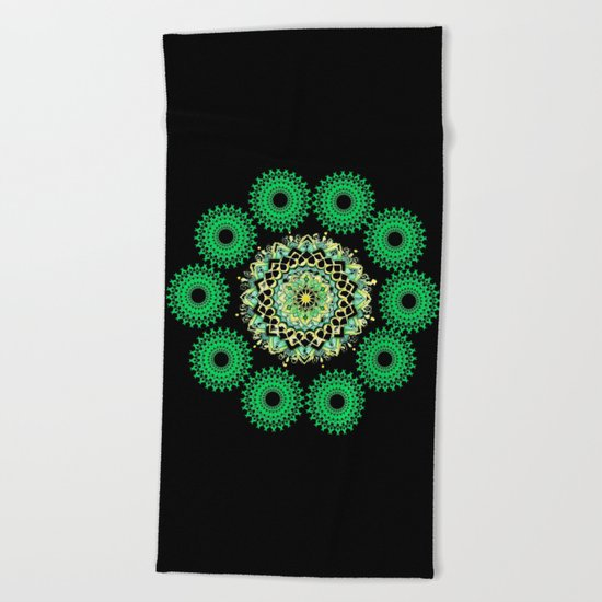 Anahata Flower in the Night Beach Towel
