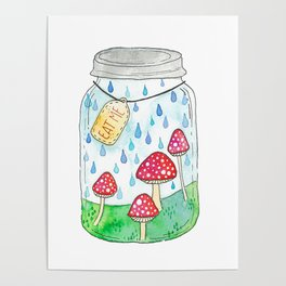 Mushrooms in Mason Jar Poster