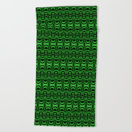 Dividers 07 in Green over Black Beach Towel