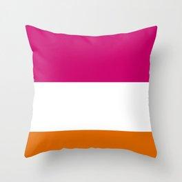 Tri-Color [Pink, White, Orange] Throw Pillow