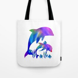Rainbow Dolphins swimming in the sea Tote Bag