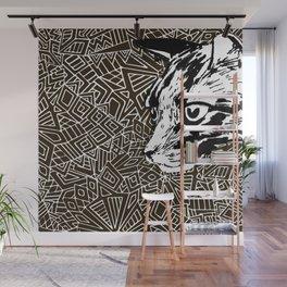 Black Lynx on geometrical background. Wall Mural