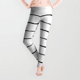 Minimal Simple White Background Black Lines Stripes Leggings