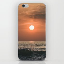 Red sunset in the ocean iPhone Skin