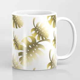 Modern gold color tropical cheese leaves pattern Coffee Mug