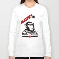 soviet Long Sleeve T-shirts featuring Soviet Space Monkey by Chris Kawagiwa